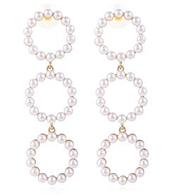 Robert Rose Goldtone Cult Pearl Triple Drop Earrings