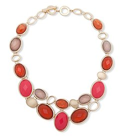 Anne Klein Goldtone Faceted Stone Bib Necklace