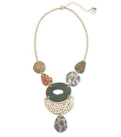 Erica Lyons Short Statement Tri Tone Necklace
