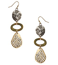 Erica Lyons Tri Tone Triple Drop Earrings