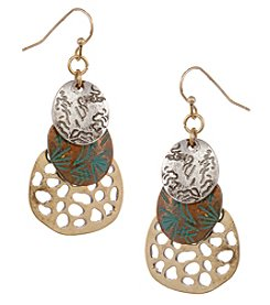 Erica Lyons Tri Tone Tiered Earrings