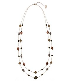 Erica Lyons Tri Tone Two Row Illusion Necklace