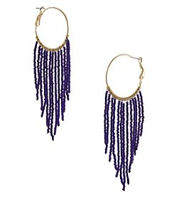 Erica Lyons Goldtone Blue Fringe Hoop Earrings