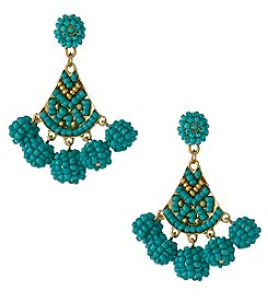 Erica Lyons Goldtone Turquoise Beaded Triangle Earrings