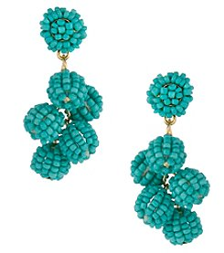 Erica Lyons Goldtone Turquoise Cluster Earrings