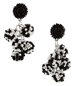 Erica Lyons Silvertone Black White Cluster Earrings