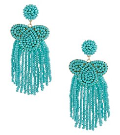 Erica Lyons Goldtone Turquoise Small Bead Fringe Earrings