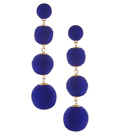 Erica Lyons Goldtone Blue Sphere Drop Earrings