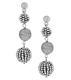 Erica Lyons Silvertone Ball Drop Earrings