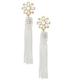 Erica Lyons Goldtone White Tassel Clip Earrings