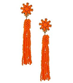 Erica Lyons Goldtone Orange Tassel Clip Earrings