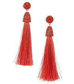 Erica Lyons Goldtone Coral Tassel Earrings
