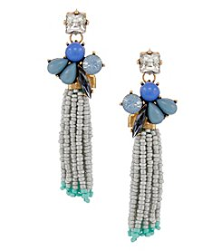 Erica Lyons Goldtone Gray Blue Tassel Earrings