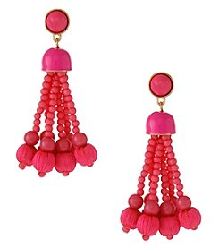 Erica Lyons Goldtone Pink Tassel Earrings