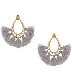 Erica Lyons Goldtone Grey Oval Fringe Earrings