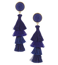 Erica Lyons Blue Tiered Tassel Earrings