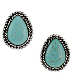 Erica Lyons Silvertone Turquoise Teardrop Button Clip On Earrings