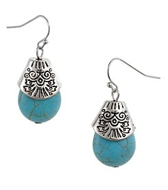 Erica Lyons Silvertone Turquoise Teardrop Earrings