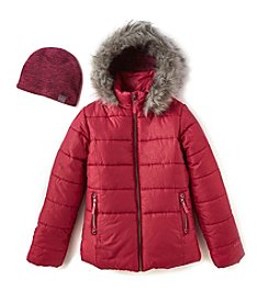 Hawke & Co. Girls' 7-16 Puffer Jacket & Hat Set