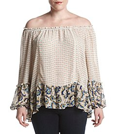 Democracy Plus Size Printed Woven Peasant Border Top