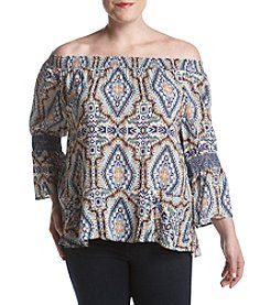 Democracy Plus Size Off The Shoulder Smocked Sleeve Top