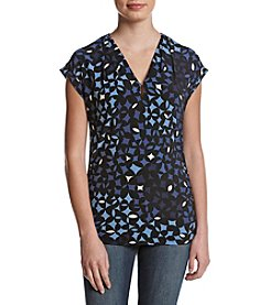 Anne Klein Print Cap Sleeve Top