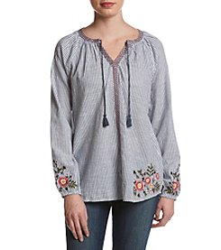 Ruff Hewn Embroidered Notch Neck Top