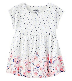 Oshkosh B'Gosh Girls' 2T-6X Short Sleeve Polka Dot Floral Tunic
