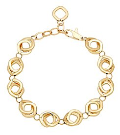 14K Yellow Gold Polished Interlocking Square Links Bracelet