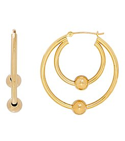 14K Yellow Gold Round Tube Double Hoop Earrings with Beads
