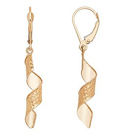 14K Yellow Gold Polished Diamond Cut Twisted Spiral Drop Earring