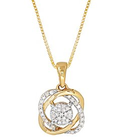 10K Yellow Gold .125 Ct. T.W. Twist Knot Pendant