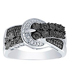 Sterling Silver Diaura 0.04 Ct. T.W. Diamond Buckle Ring