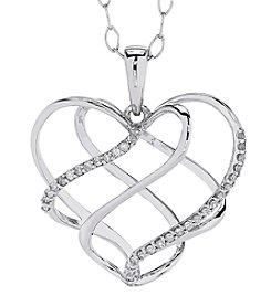 Sterling Silver 0.09 Ct. T.W. Diamond Heart Pendant