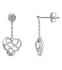 Sterling Silver 0.07 Ct. T.W. Diamond Drop Heart Earrings