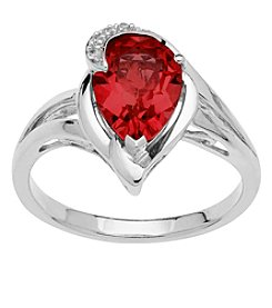 Sterling Silver Garnet Ring with 0.01 Ct. T.W. Diamond Accent