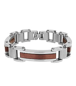 Men's Stainless Steel Polished Rectangle Link Bracelet With Coffee Ion Plated Accents