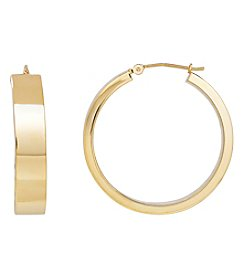 14K Yellow Gold Polished Rectangle Tube Round Hoop Earring
