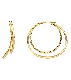 14K Yellow Gold Polished Diamond Cut Wavy Double Hoop Earring