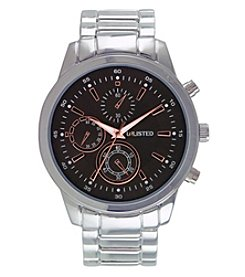 Unlisted by Kenneth Cole 46mm Silvertone Black Dial Chronograph Watch