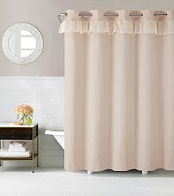 Hookless Waterfall Jacquard Shower Curtain with PEVA Liner