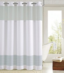 Hookless Color Block Shower Curtain with Fabric Liner
