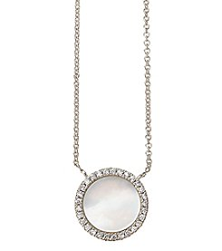 Circle Cubic Zirconia And Mother Of Pearl Necklace