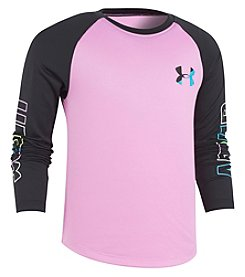 Under Armour Girls' 2T-6X Wordmark Raglan Long Sleeve Tee