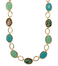 Anne Klein Goldtone Faceted Stone Collar Necklace