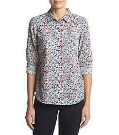 Ruff Hewn Split Back Hem Floral Pattern Top