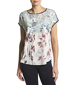 Ruff Hewn GREY Abstract And Floral Pattern Mix Tee