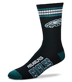For Bare Feet NFL® Men's Philadelphia Eagles 4 Stripe Deuce Crew Socks