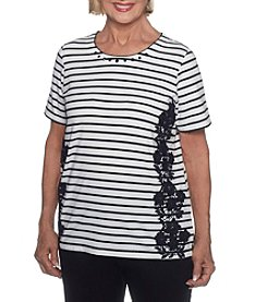 Alfred Dunner Floral Striped Shirt