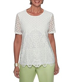 Alfred Dunner Allover Lace Top